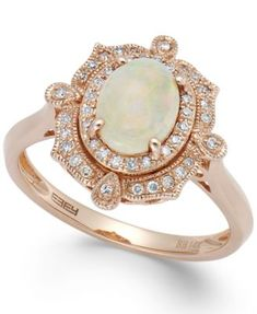 Aurora by EFFY Opal (5/8 ct. t.w.) and Diamond (1/6 ct. t.w.) Oval Ring in 14k Rose Gold #opalsaustralia