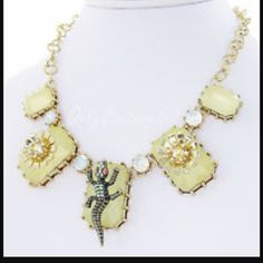Betsey Johnson necklace Selling to buy Betsey pieces I need. This is from the stone collection. The necklace is gold tone. There are 5 yellow stones. There are 2 flowers. There is also 4 stones ( missing one). New Betsey Johnson Jewelry Necklaces