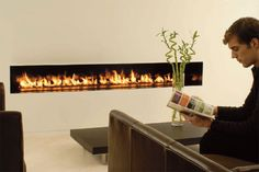 This fireplace is different than the others fireplace design, it has a long shape that could mounted on the wall.