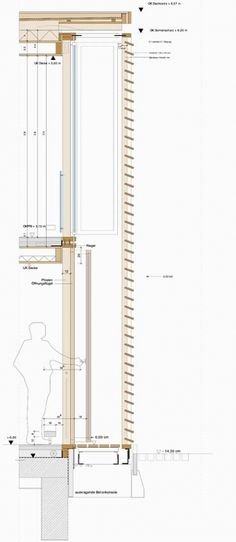 Profiles of Selected Architects | german-architects.com Detail Architecture, Architecture Drawings, Facade Design, House Design, Wall Section Detail, Shading Device, Construction Drawings, Architectural Section, Building Facade