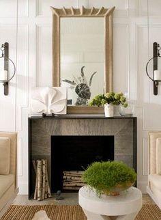 11, Brad Ford ID | Remodelista Architect / Designer Directory | contemporary fireplace | white modern sculpture on mantel | fine art artwork | living room | residential interior design ideas