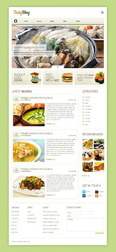 Details of the website as featured within CoolHomepages web design inspiration gallery. Wordpress Template, Wordpress Theme, Web Design Gallery, Wordpress Website Design, Latest Recipe, Drupal, Food Categories, Custom Banners, Cafe Restaurant