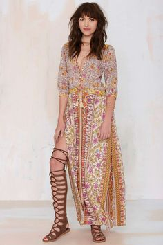 Spell Boho Blossom Maxi Dress with Thigh-High Side Slits
