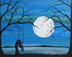 """Romantic silhouette painting, """"Forever Young"""", Acrylic painting by Rachel Olynuk   Artfinder"""