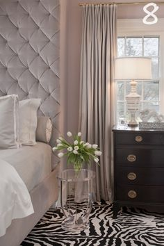 Glamorous bedroom design with blush walls, velvet tufted headboard and zebra rug! Glam Bedroom, Home Bedroom, Bedroom Decor, Bedroom Ideas, Pretty Bedroom, Feminine Bedroom, Bedroom Photos, Bedroom Inspiration, Taupe Bedroom