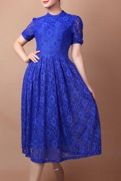 Yb Sapphire Blue Lace Swing Dress | Midi Dresses at DEZZAL