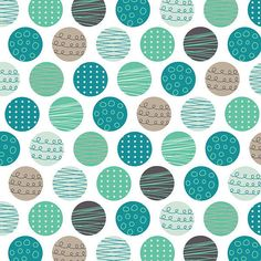 Geometric Polka Dots in blue, grey and white. Lets Go by Andrea Turk for Camelot Cottons. Awesome retro collection! 9140406 #2    View all Lets Go