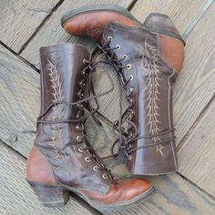 Vtg Tony Lama Embroidered Lace up Boots // by flaminghagfolkwear