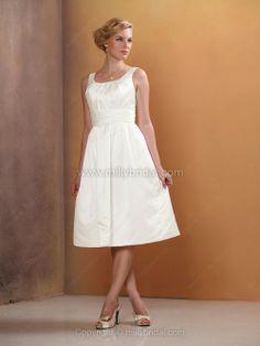 A-line Straps Satin Knee-length Ruched Wedding Dress