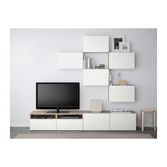 BESTÅ Combinaison meuble TV - motif noyer teinté gris/Lappviken blanc, glissière tiroir, fermeture silence - IKEA