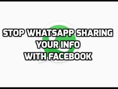 How To Stop WhatsApp Sharing Your Info With Facebook  WhatsApp in the latest update mentioned that, it started sharing the user info with Facebook which allows Facebook to show ads and friends suggestions.  If you do not want WhatsApp to share your info, then follow steps as mentioned in the video.  Popular Playlists:   https://www.youtube.com/channel/UC6mkU9NLflY6L7-lj-WZ53A/playlists  Latest Videos:  https://www.youtube.com/channel/UC6mkU9NLflY6L7-lj-WZ53A/videos