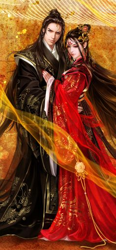fantasy Asian art and digital illustrations Chinese classical by ~valleyhu on deviantART (cropped for detail) 3d Fantasy, Anime Fantasy, Fantasy World, Fantasy Figures, Fantasy Romance, Manga Couples, Character Inspiration, Character Art, Fantasy Couples