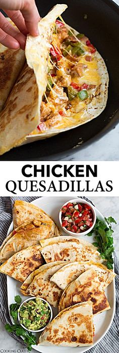 Loaded Chicken Quesadillas - The ultimate Quesadillas recipe! These are brimming with two kinds of gooey melted cheese and a flavorful, fajita style chicken and sautéed pepper filling. Talk about delicious Mexican comfort food everyone will go crazy for! Authentic Mexican Recipes, Mexican Food Recipes, Dinner Recipes, Best Mexican Food, Chicken Quesadillas, Chicken Fajita Quesadilla Recipe, Best Quesadilla Recipe, Yummy Quesadillas, Good Food