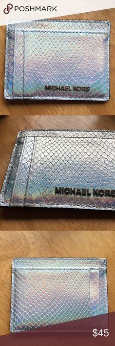 MICHAEL KORS / NWT iridescent card holder wallet Silver MK card holder, new with tags! So beautiful and really want to find a home for it :) Michael Kors Accessories Key & Card Holders
