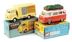 corgi toys Lucozade Karrier and Holiday Camper Commer vans