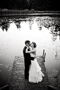 Bride and groom at lake #photography