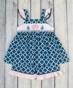 Look at this Navy Octopus Smocked Top & Shorts - Infant, Toddler & Girls on #zulily today!
