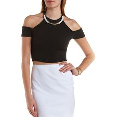 Charlotte Russe Black Cold Shoulder Halter Crop Top by Charlotte Russe... ($8.99) ❤ liked on Polyvore featuring tops, black, wrap crop top, black top, wrap around crop top, charlotte russe and cut out shoulder top