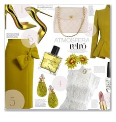 """DIVINE RETRO"" by jckallan ❤ liked on Polyvore featuring Roksanda, Ted Baker, Oscar de la Renta, Chanel, Del Gatto, OPI, Yves Saint Laurent, Miller Harris and contestentry"