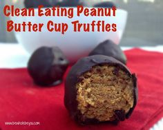 Clean Eating Peanut Butter Cup Truffles. No refined sugar and so easy to make. You won't miss the Reese Cups! Gluten Free. Vegan.
