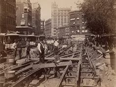 Construction of the cable road on Broadway, New York City, in 1891.