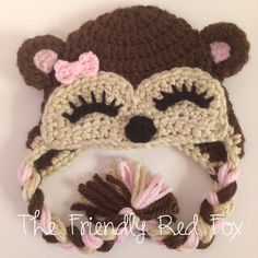 Girl Monkey Crochet Hat with Pink Bow on Etsy, $28.00