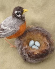 Needle felted American Robin, mother bird and nest with 3 blue eggs by inigmati