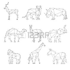 Geometric animals silhouettes Unusual logo roe and lion rhino and camel elephant and gorilla vector Stock Vector