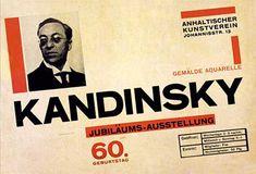 Affiche d'exposition consacrée à Kandinski, réalisée en 1926 par Herbert Bayer, directeur de l'atelier de typographie du Bauhaus.