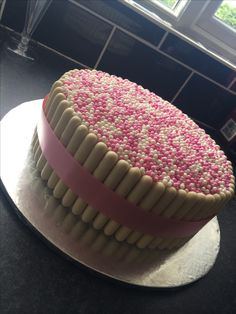 White chocolate finger birthday cake.