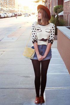 wink face sweater, vintage cutoff shorts, steffy degreff, nyc vintage fashion blog, long beach ny fashion