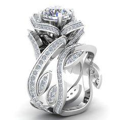 $2.6 - 925 Silver ,Gold Lotus Flower White Topaz Ring Set Fashion Women Wedding Jewelry #ebay #Fashion