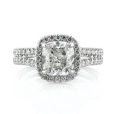 2.92ct Cushion Cut Diamond Engagement Anniversary Ring available at MarkBroumand.com #3445-1