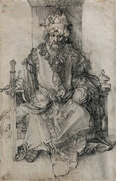 aetherum:    ALBRECHT DÜRER An Oriental Ruler Seated on His Throne, 1495