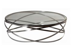 Roche Bobois- Evol round table stainless steel + smoked glass top