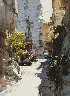 Chien Chung Wei (was born In Taiwan) Watercolor City, Watercolor Sketch, Watercolor Artists, Watercolor Landscape, Watercolor Paintings, Watercolors, Urban Landscape, Landscape Art, Landscape Paintings