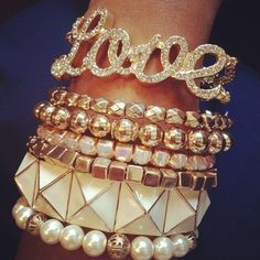 #gold #bracelets + sparkle love bracelet + pearls, nice mix!