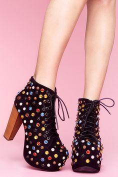 Nasty Gal   Jeffrey Campbell Lita Platform Boot - Bejeweled in black/multi