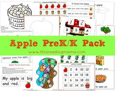 FREE Apple PreK/K Pack ~ Features two emergent readers with literacy and math activities for preschoolers and Kindergartners | This Reading Mama