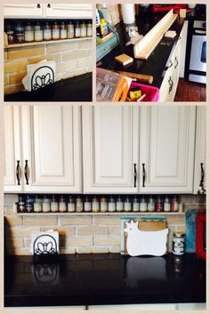 DIY Spice Rack. I like the placement right under the cabinets. This would help to keep them from getting dusty