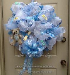 Baby Boy Wreath Nursery Wreath Shower Gift by Cindyswreathsand, $75.00