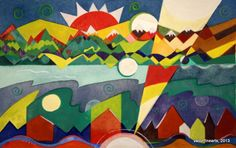 Varonfinearts geometric landscape watercolor 2013