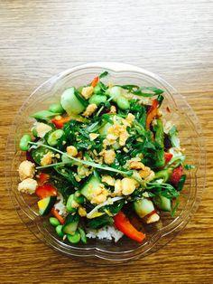 Ono Poke on 104 St: Beet the Poke bowl: Rice, quinoa, umami sauce, beets, peppers, rosemary, edamame, macadamia nuts, chili oil, cuke, seaweed salad, green onions and cilantro! #yeg #vegan