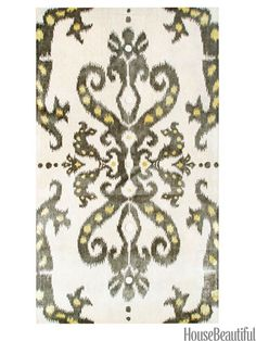 Ethnic damask rug from zincdoor.com. housebeautiful.com. #ikat #ethnic #rug #pattern