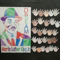 Martin Luther King Jr. art project. Great Black History Month Bulletin board display.