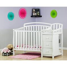Dream On Me Casco 4 In 1 Mini Crib And Dressing Table Combo,