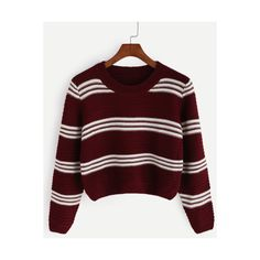 SheIn(sheinside) Burgundy Striped Crop Pullover Sweater ($21) ❤ liked on Polyvore featuring tops, sweaters, burgundy, red pullover sweater, long sleeve crop top, long sleeve crop sweater, red crop top and loose sweater