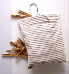Ticking Clothes Pin Bag and old clothespins. <3