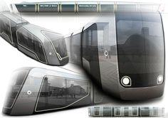 Sketches we like / Train / render / Digital Artwork / at Concept tram ( Alstom work ) on Behance China Train, Train Truck, Trains, Industrial Design Sketch, Rail Car, U Bahn, Rolling Stock, Truck Design, Machine Design