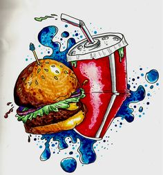 Fast Food - This is definitely one of my favorite drawings, it was simply made by ink pens and crayola markers. Don't let expensive materials get in the way of your creativity # Food Painting, Food Drawing, Food Illustrations, Food Items, Restaurant Design, Food Art, Food Food, Junk Food, Food Truck